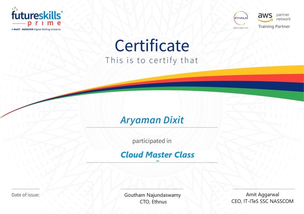 Nasscom Futureskills Prime AWS Cloud  MasterClass In association with MEITY